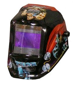 Thor welding hood from Lincoln Electric. Click to see more Avengers themed welding hoods.