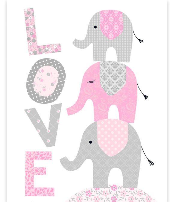 Elephant Nursery, Love Print, Elephants Stacked, Baby Girl ...