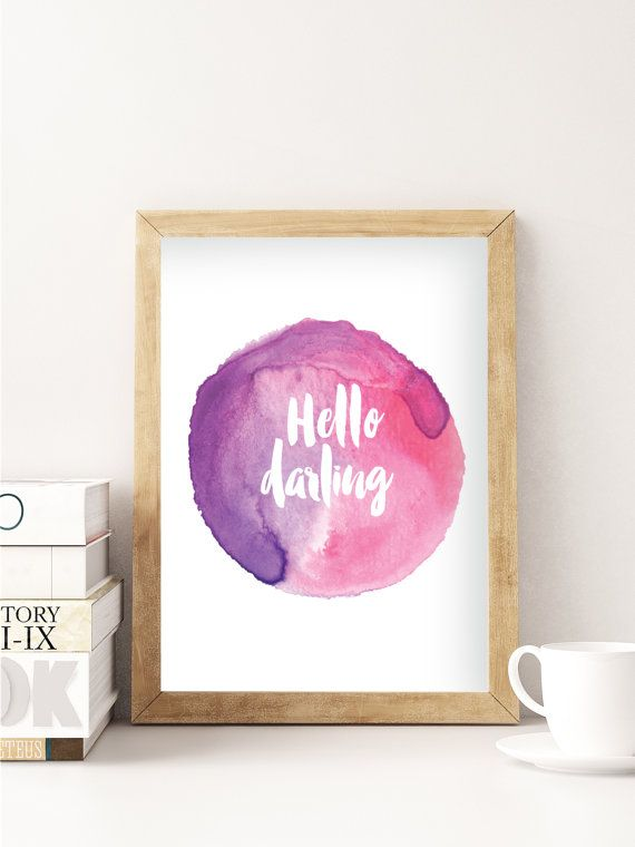 Contemporary Pink Watercolour Poster Hello by FrankieAndGus