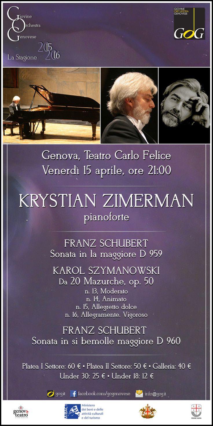 Krystian Zimerman, pianoforte   Venerdì 15 aprile 2016, Teatro Carlo Felice, #Genova #gog1516