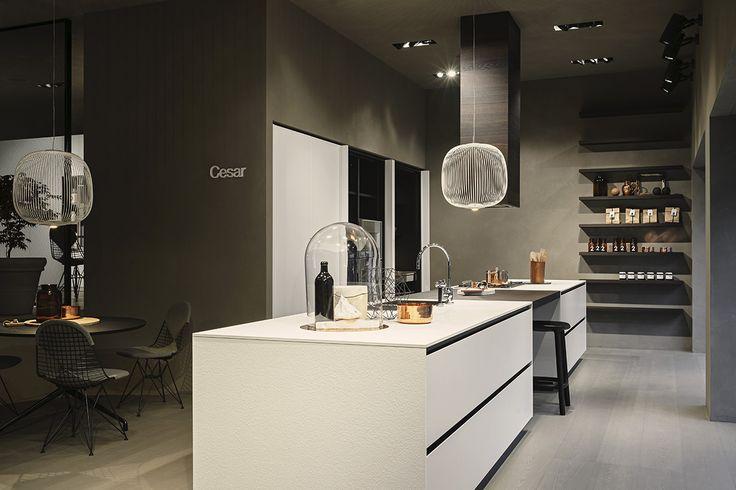 Maxima 2.2 collection Neve @ Cesar flagship store in #Milano - #Spokes lamp by #Foscarini - wooden flooring by Corà - Photo © Andrea Ferrari