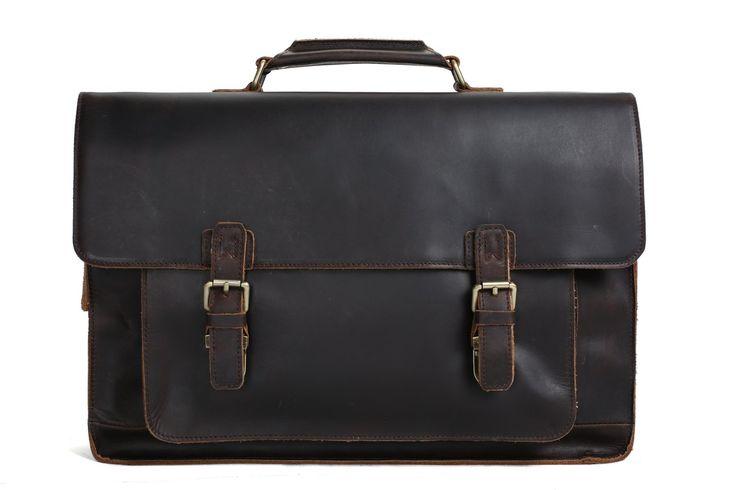 MoshiLeatherBag - Handmade Leather Bag Manufacturer — 17'' Handmade Leather Laptop Bag, Man Leather Briefcase, Messenger Bag, Handbag 7205L