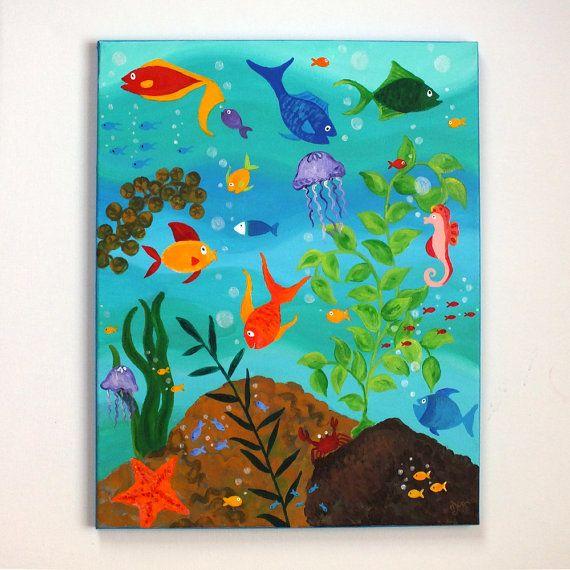 HAPPY FISH, Tropical Fish Painting, 16x20 Whimsical Fish