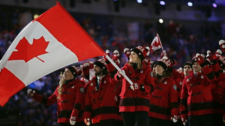 Hayley Wickenheiser carries the Canadian flag as Team Canada arrives during the opening ceremony of the 2014 Winter Olympics in Sochi, Russia Friday, Feb. 7, 2014. (AP Photo/Matt Dunham)