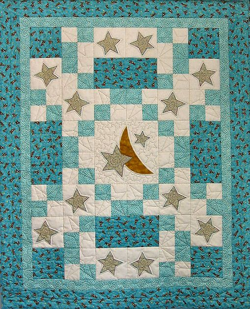 Sweet Dreams baby quilt-moon and stars appliqués « Cottage Quilt Designs