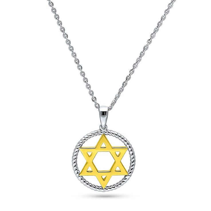 18-Inch Rhodium Plated Necklace with 6mm Faux-Pearl Beads and Star of David Charm.