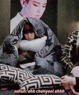 Sehun and Baekhyun like dominos, falling to hug Chanyeol overdramatically. #exofamily