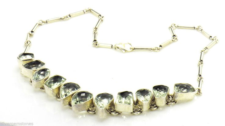 Sterling Silver Gemstone Necklace Green Amethyst 925 Sterling Silver