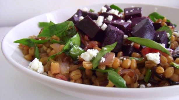 Roasted Beet & Farro Salad with Spinach & Caramelized Onions