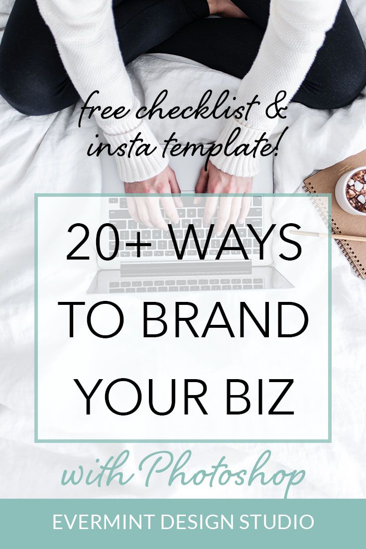 Click here to grab the FREE checklist on 20+ Ways To Brand Your Biz with Photoshop! I also include a FREE Instagram template! Up-level your branding materials with Photoshop, and find out all the ways you can harness the power of this design software to create stunning graphics for your blog and business! >> Click here to grab the FREE Checklist & Insta template! www.evermintdesignstudio.com