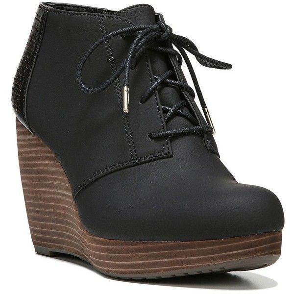 Dr. Scholl's Hype Women's Wedge Ankle Boots ($95) ❤ liked on Polyvore featuring shoes, boots, ankle booties, oxford, leather booties, leather ankle boots, lace up wedge bootie, lace-up wedge booties and wedge bootie