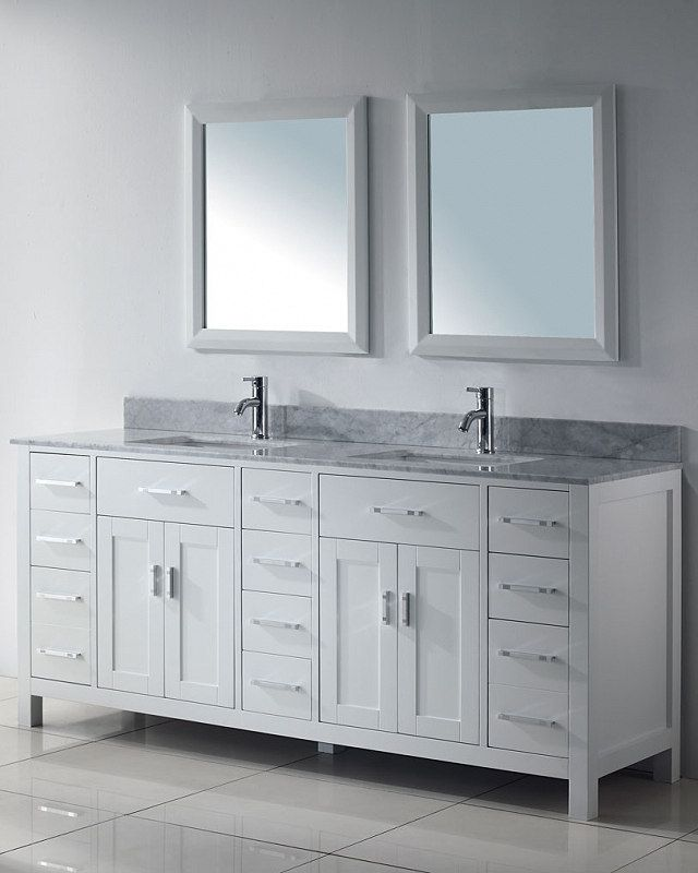 "Projecting refined elegance with unmatched storage space, the Kalize 75"" modern bathroom vanity is an exquisite statement for the modern, clean-lined bathroom. http://www.listvanities.com/white-bathroom-vanities.html The sleek metal hardware is a study in quiet minimalism. All soft-closing doors and drawers open to reveal a clear-laquered wood finish. A Bianco Carrera countertop crowns the cabinet with charm and solidity."