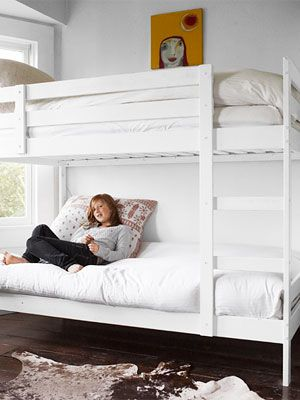 Rustic and White - This is the same bunk  bed we have, this is what it looks like painted...How about Navy Blue for Zach's room?