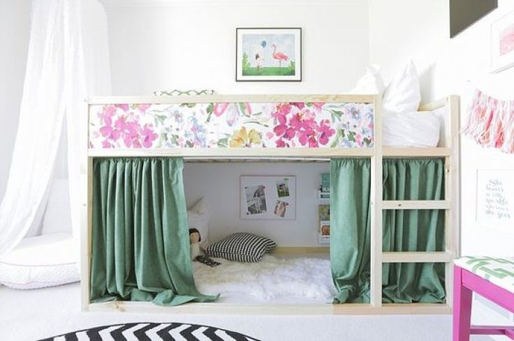 mommo design: IKEA HACKS FOR KIDS.  Do the same thing and use fabric to decorate the bed front. Add shelves underneath.