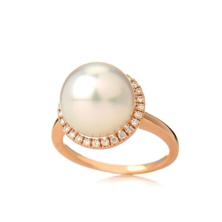 Matahina 11mm Pink White Rnd SSea Pearl Ring 14ct RG