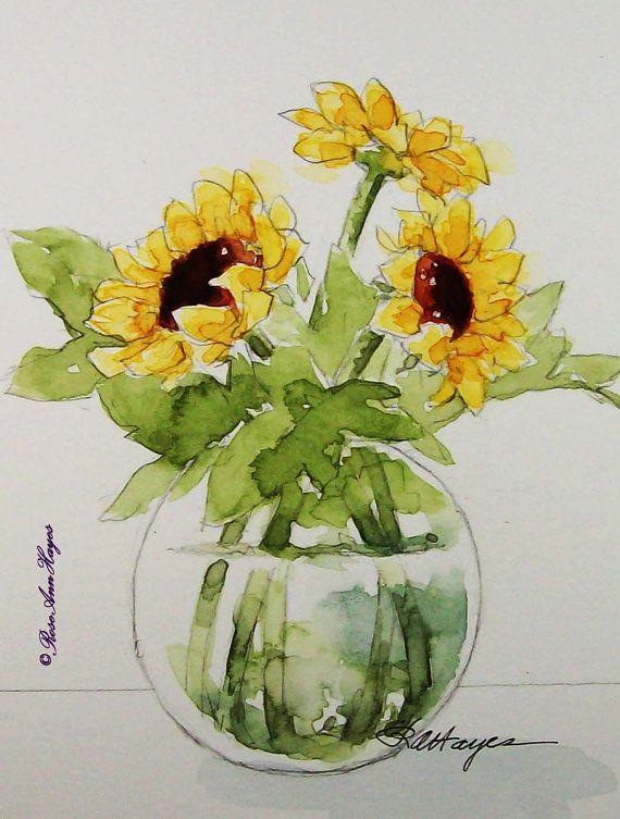 Sunflowers in Glass Original Watercolor Painting Flowers | Pinterest | Painting flowers, Watercolor and Sunflowers
