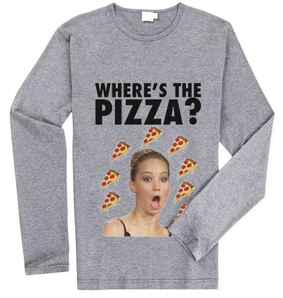 Jennifer Lawrence Where's the Pizza for Long Sleeved Mens and Long Sleeved Girls T Shirt