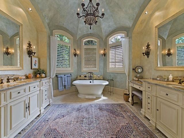 French Country Master Bathroom Domed Ceiling Chandelier Stand