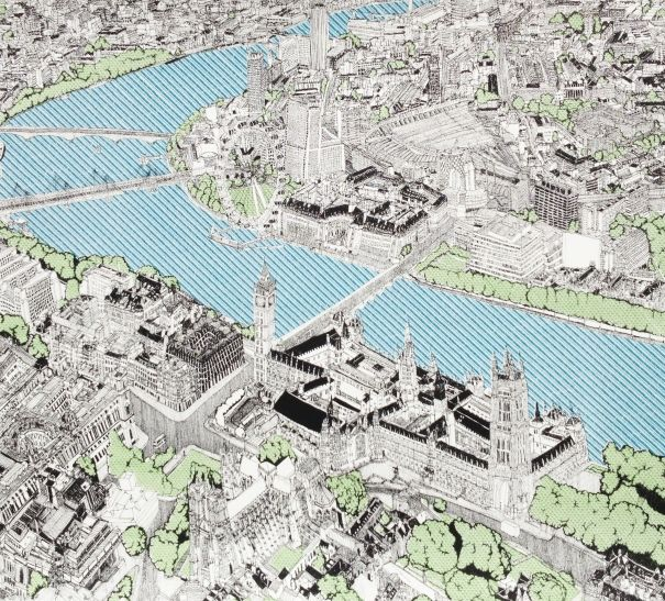 Aerial Attractions At London by Clare Halifax - Silk Screen Print on Somerset Satin Paper