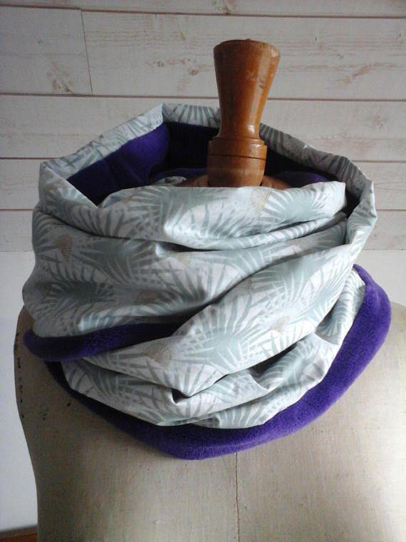 SNOOD / tour de cou Naïla 2 tours en tissu doudou et toile