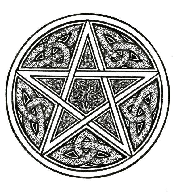Celtic Knotwork Protective Pentacle Art Print by ArtByEvelyne, $14.50...as a tat???