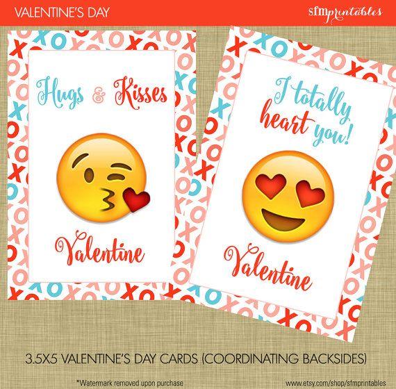 Emoji Valentines Day Cards Instant Download Kids