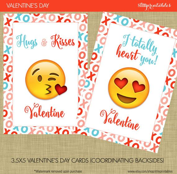 Emoji Valentine's Day Cards  Instant Download by sfmprintables