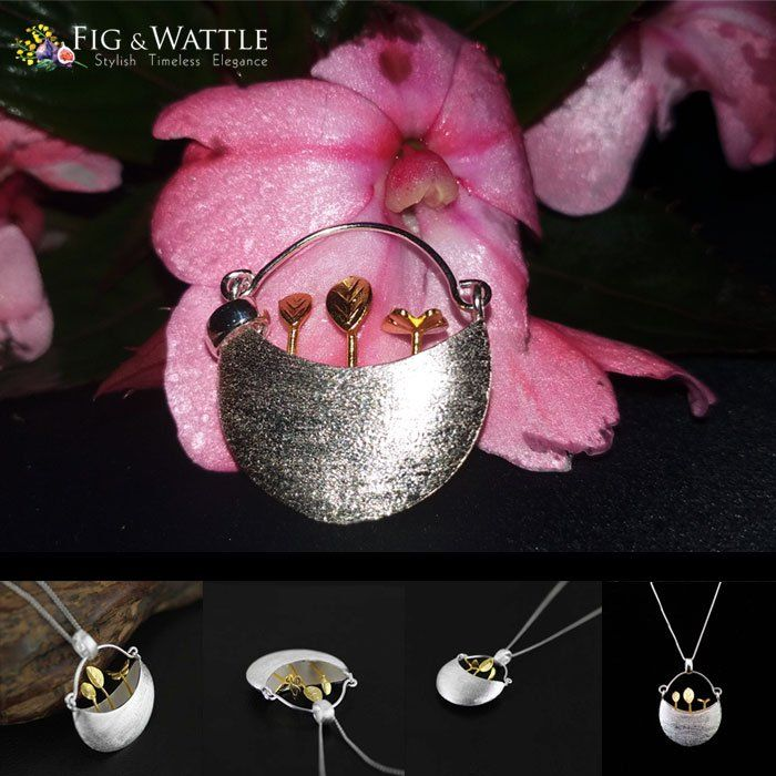 It's rather wet on the Sunshine Coast at the moment, so what do we do? Head outside for a mini photo shoot! We might be mad, but we think our My Little Garden Pendant looks absolutely sensational against this rain infused flower. What do you think? #figandwattle #rainydays #silver