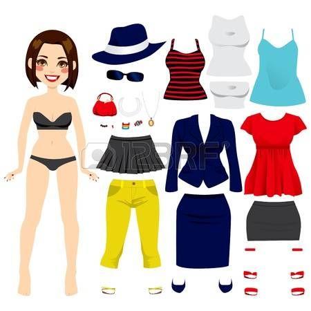 ragazza collant: Carino capelli corti bruna paper doll gioco di moda collezione abbigliamento set ragazza
