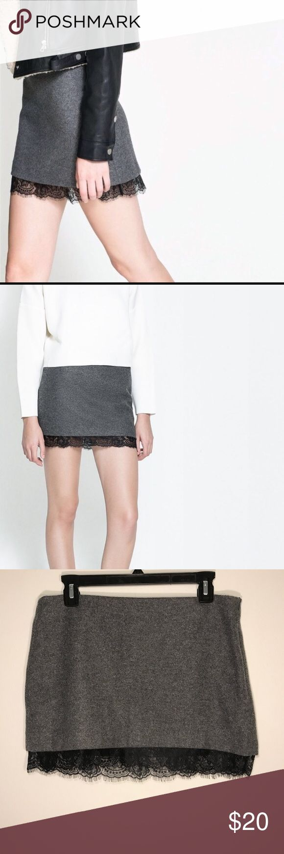 ✨CLEARANCE✨ ZARA Wool skirt with lace hem Beautiful Zara gray wool skirt with gorgeous black lace hem detail. Side zipper. Dress it up or down. Easily takes any outfit from day to night. Zara Skirts Mini