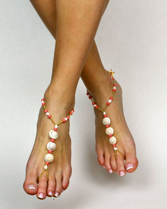 Coral Sea Shell Barefoot Sandals Shell Sandals Sea by BareSandals