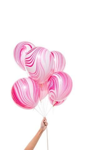 Marbled Balloons in pink red and white