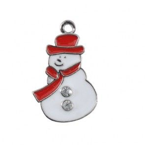 Snowman White Metal 22x17mm-Pack of 10