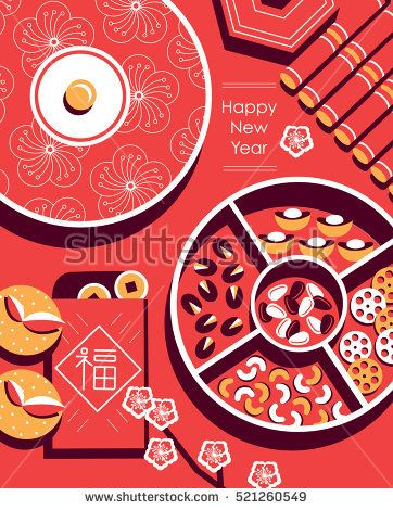"""Chinese New Year snack plate include nuts, candies and cookies. Chinese envelope with Chinese character - """"FU"""" it means blessing and happiness in Chinese."""