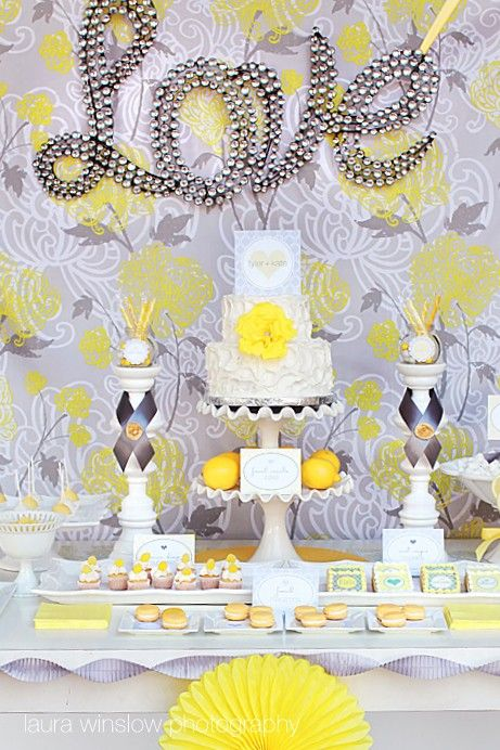 I love the set up of this! Could find some really pretty yellow and grey fabric for the background!
