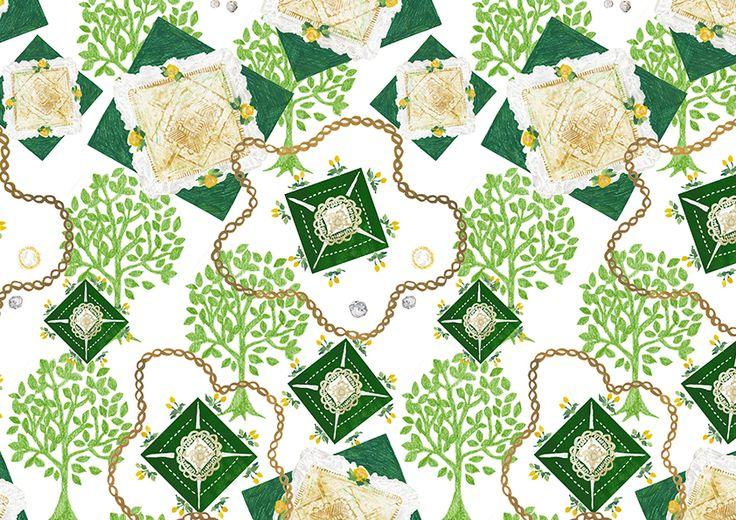 #pattern #パターン#模様 #お洒落 #可愛い #packagedesign #パッケージ #デザイン #お花 #flower #柄 #animal #pink #green #plants #自然 #木 #illustration #kanakobayashi #三角 #art #fashion