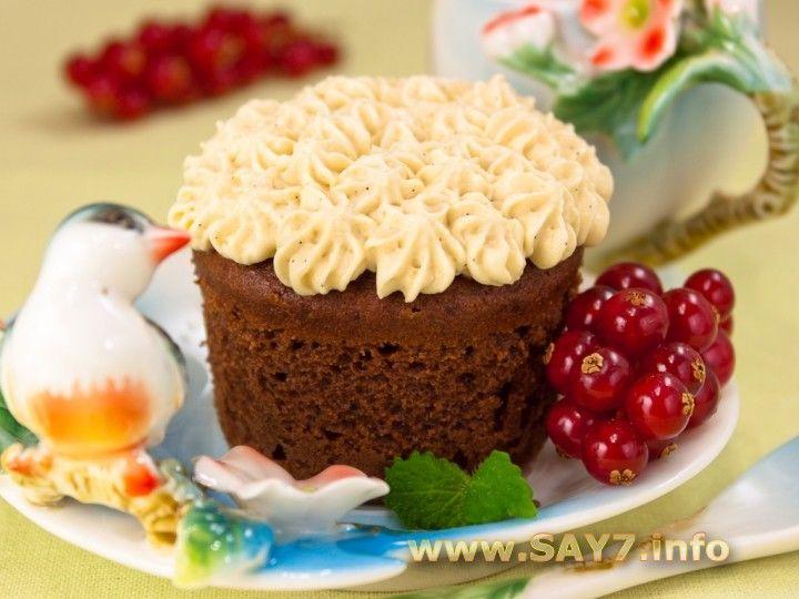 Шоколадные кексы с карамельным кремом