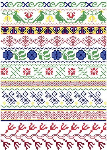 Mexican Folk Borders cross stitch pattern www.blackphoebedesigns.com