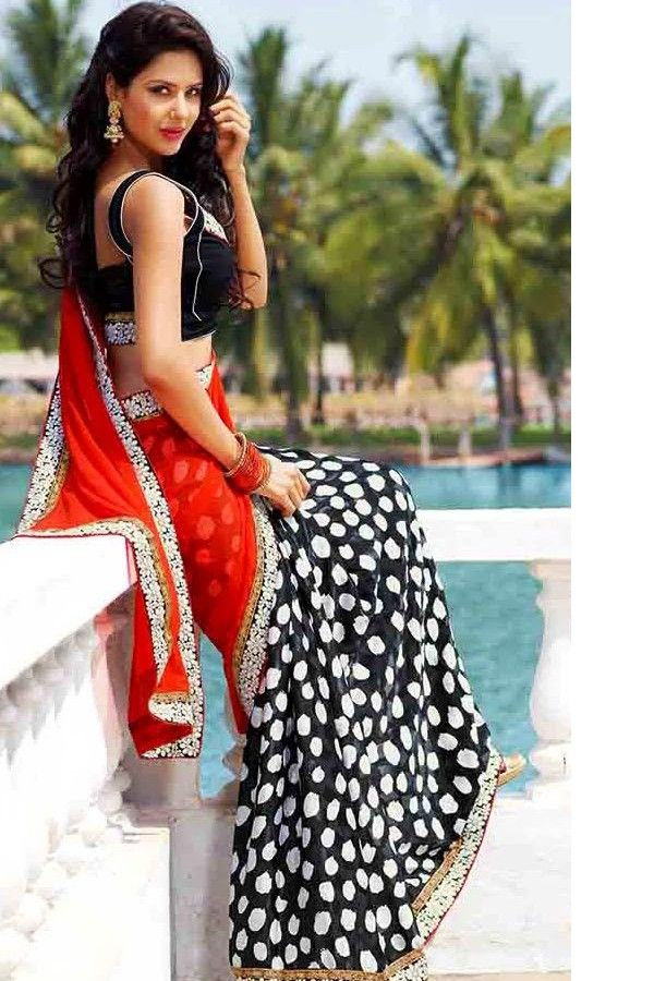 Orange black #saree #indian wedding #fashion #style #bride #bridal party #brides maids #gorgeous #sexy #vibrant #elegant #blouse #choli #jewelry #bangles #lehenga #desi style #designer #outfit #inspired #beautiful #must-have's #india