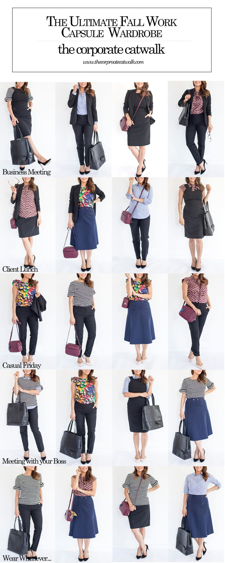 The Ultimate Fall Work Capsule Wardrobe for very Corporate Woman. More on Corporate Catwalk | Black Trousers, black tote, black dress, crossbody, printed blouse, stripes for work, wearing floral at the office work outfit ideas, what to wear to work in fall, winter, spring. Corporate Catwalk.