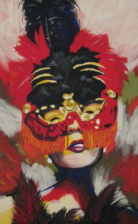 """""""Bird Lady"""" acrylic on canvas painting © 2012 by, artist Heather Froman"""