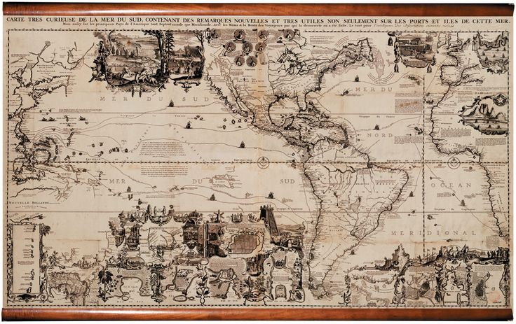 Historic 1719 Map of Americas - Fabric Giclee Wall Mural