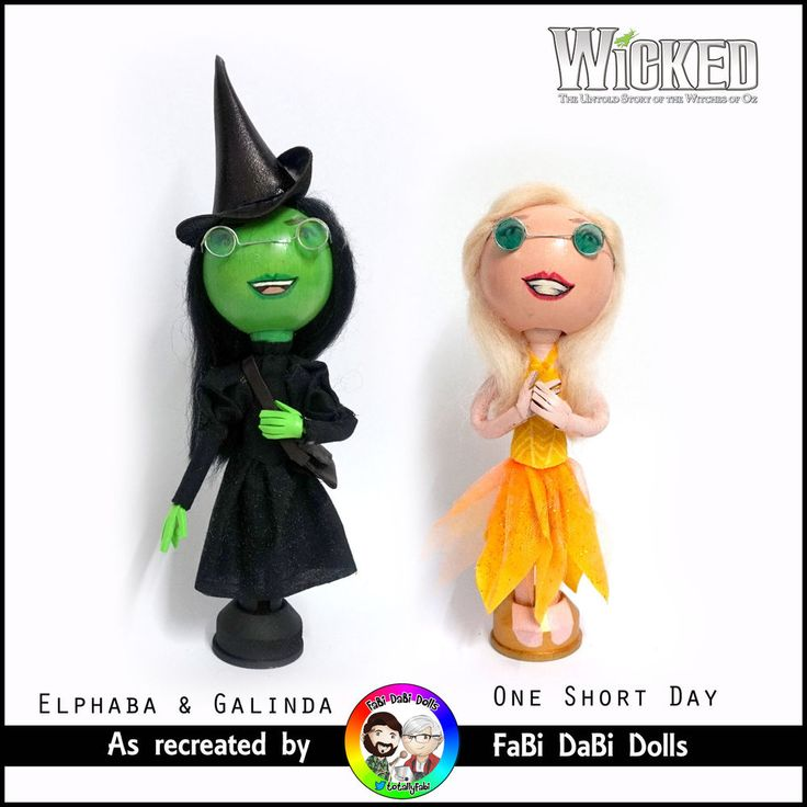 One Short Day Wicked the musical peg doll set - glinda and elphaba by fabi dabi dolls