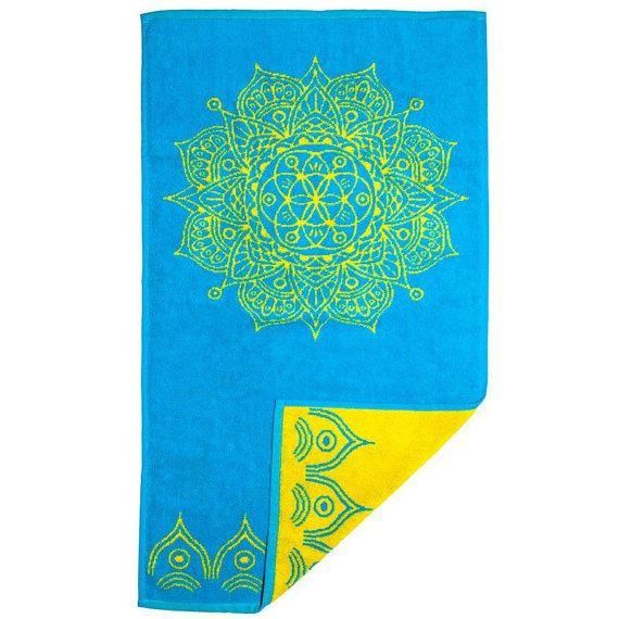 Sky Blue Hand Towel with Yellow Mandala  Bathroom Accessories Luxury Towels Yoga Gift Blue Bathroom