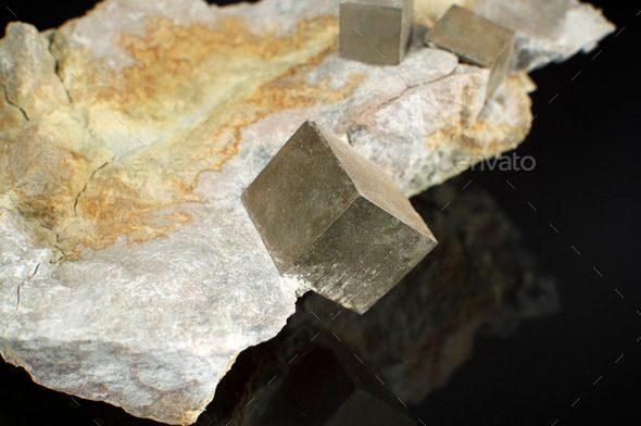 Mineral pyrite cubes