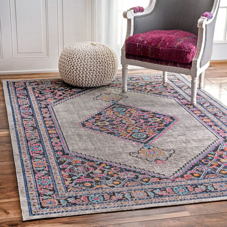 NuLOOM Vintage Persian Border Grey Rug 5 X 75
