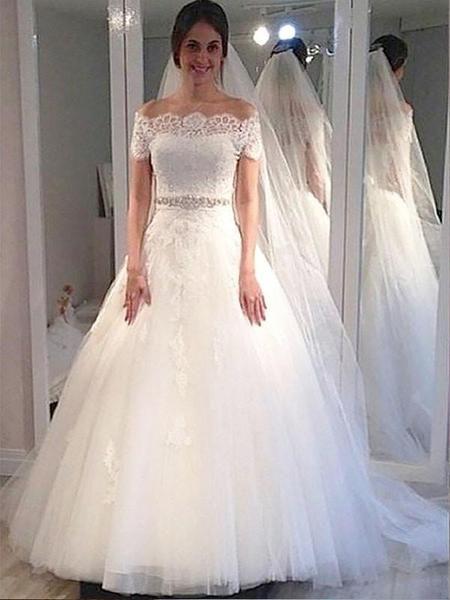 fd29226d3c Off Shoulder Short Sleeves Lace Beaded A line Cheap Wedding Dresses Online
