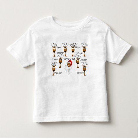 African-American Black Santa Claus & Reindeer Toddler T-shirt #Christmas #Xmas #Holidays #kids #baby #apparel #clothing