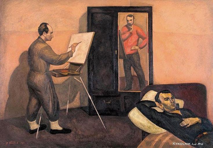 "Popkov Victor (USSR, 1932-1974) ""Three painters with a Self portrait"", 1963.  1963 год Попков Виктор Ефимович (Россия, 1932-1974) «Три художника»."