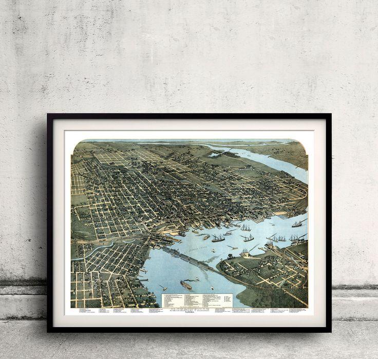 Bird's eye view of Jacksonville Florida 1874 FREE